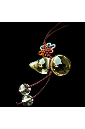 Handmade Yellow Crystal Tiny Wu Lou /Hu Lu Hanging