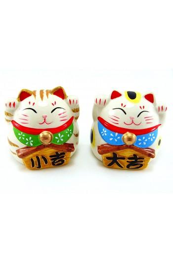 A Pair of Maneki Neko Ceramic Lucky Cats Coin Banks-2.25